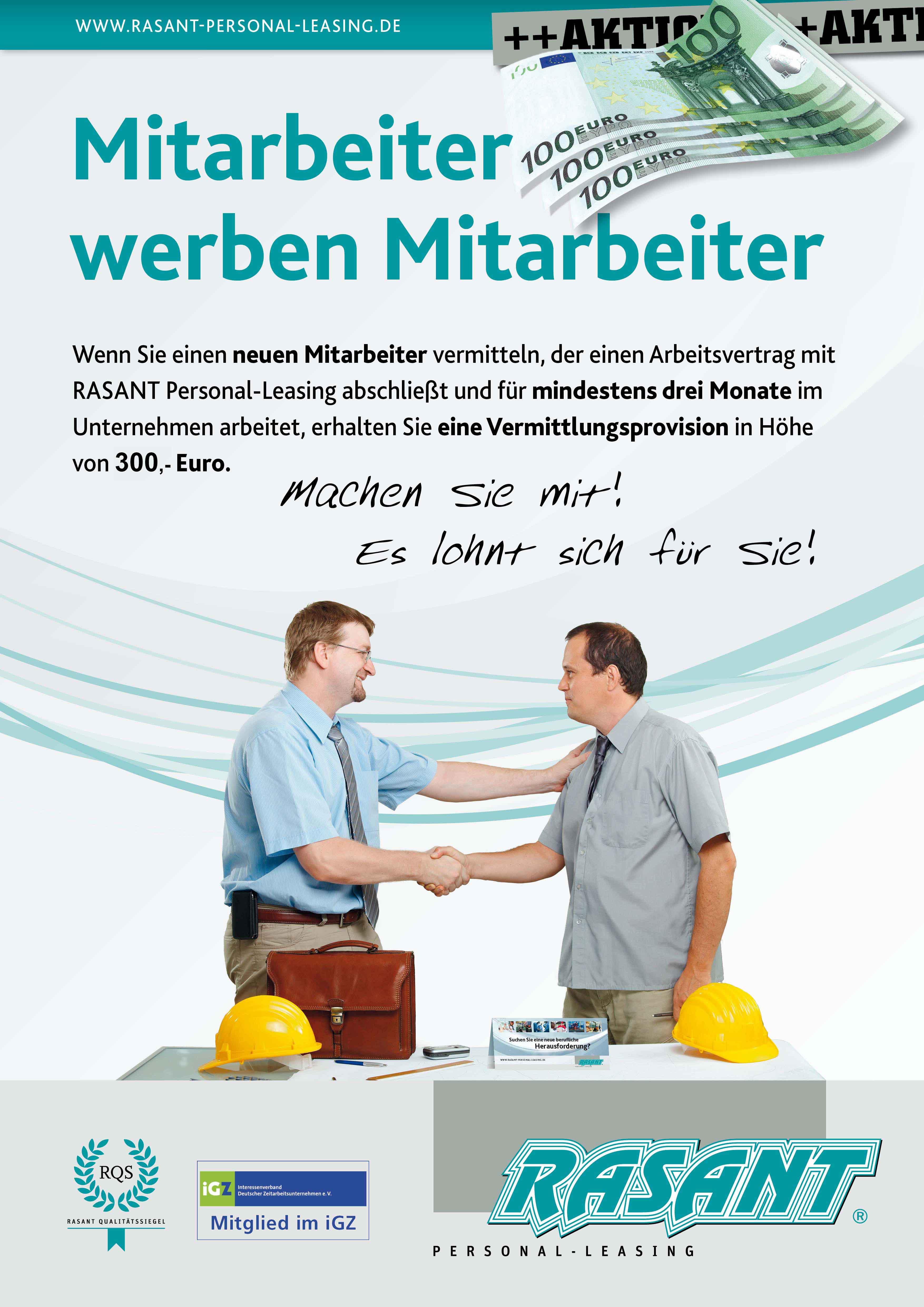 Mitarbeiter werben Mitarbeiter 300 EURO